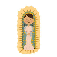white background with canvas of virgin of guadalupe vector illustration