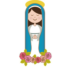 white background of christian virgin and ornament of pink roses vector illustration