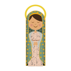 white background of virgin of guadalupe with aura vector illustration