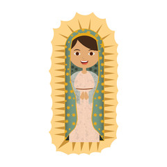 white background with canvas of pretty virgin of guadalupe vector illustration