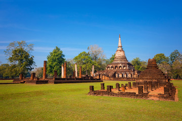 Wat Chang Lom Temple at Si Satchanalai Historical Park, a UNESCO world heritage site, Thailand