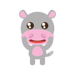 kawaii hippo animal toy vector illustration eps 10