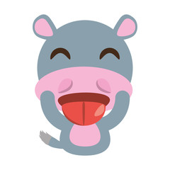 cute hippo animal character funny vector illustration eps 10