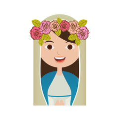 white background of half body beautiful virgin with crown of roses vector illustration