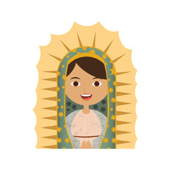 white background of half canvas of virgin of guadalupe vector illustration