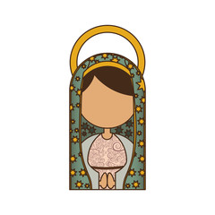 white background of half body faceless virgin of guadalupe vector illustration