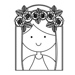 monochrome contour of half body beautiful virgin with crown of roses vector illustration
