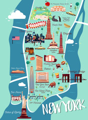 New York Manhattan Illustration Map