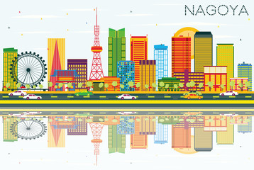 Nagoya Skyline with Color Buildings, Blue Sky and Reflections.