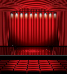 Red Stage Curtain with Spotlights, Seats and Copy Space.