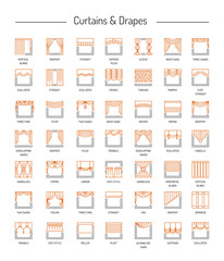 Different window drapes, curtains, blinds. Lambrequins and shades. Home decor elements. Line icon set. Vector illustration.
