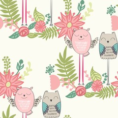 Seamless pattern with funny owls in vector.