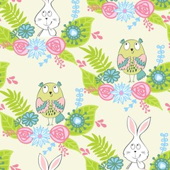 Vector seamless pattern with animals and flowers