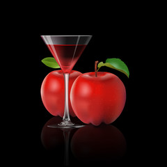 Apple juice and fresh apple isolated on back background