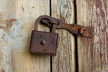 Close up old rusty padlock