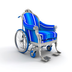 Louis XVI style blue striped wheelchair