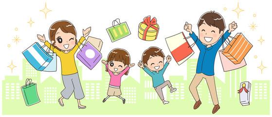 街中で買い物する家族のイラスト