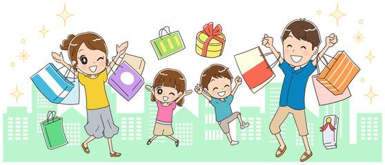 街中で買い物する家族のイラスト(夏)