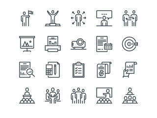 Business. Set of outline vector icons. Includes such as Business Meeting, Handshake, Agreement, One on One Meeting and other.