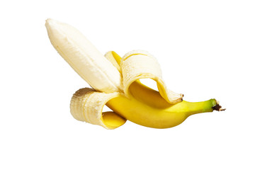 010679bd83782 Half peeled banana isolated on a white background