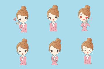 businesswoman with different emoji