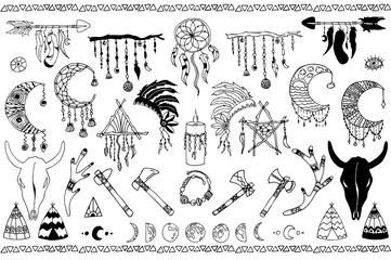 Hand drawn doodles boho set