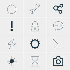 Vector Illustration Of 12 Interface Icons. Editable Pack Of Full Brightness, Hourglass, Wrench And Other Elements.