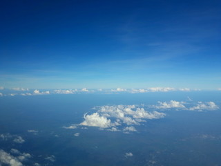 Blue sky and clouds. The view from the plane.
