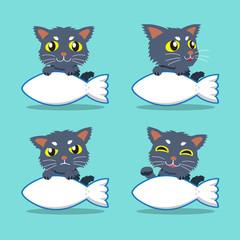 Cartoon character cat with fish sign set