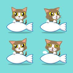 Cartoon character cute cat with big fish sign
