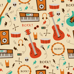 Rock Music Seamless Background.  Pattern with Music Symbols and instruments.