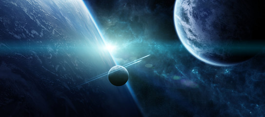 Sunrise over distant planet system in space 3D rendering elements of this image furnished by NASA