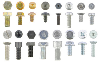 Collection of metal bolts isolated on white background