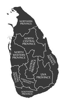 Sri Lanka Map labelled black illustration