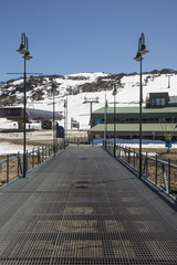 View of ski lifts at the Perisher Valley ski fields, New South Wales.