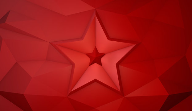 May 9 russian holiday victory. 3d low poly background with star