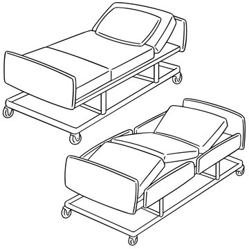 vector set of hospital bed