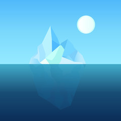Polygonal iceberg underwater in blue ocean. Template can be used for infographic or business banner. Vector illustration