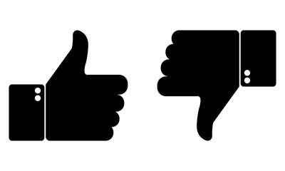Thumbs up and down. Like and dislike web icons for social network. Vector illustration