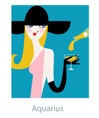 Aquarius woman horoscope sign as a fashion girl wearing retro style big black hat and drinking champagne. Vector illustration.