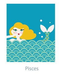 Pisces woman horoscope as a girl mermaid swimming in the sea waves. Vector illustration.