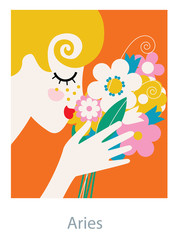 Aries horoscope woman as a female smelling a flower bouquet. Vector illustration.