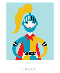 Cancer horoscope sign a knight woman. Vector illustration.
