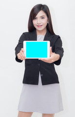 young businesswoman show tablet on her hand