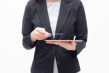 Businesswoman looking of tablet. young woman looking card onher hand.