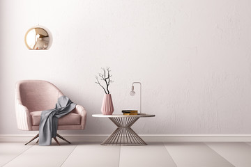 Interior with an armchair and a little table on a background of an empty wall, 3D render, 3d illustration.