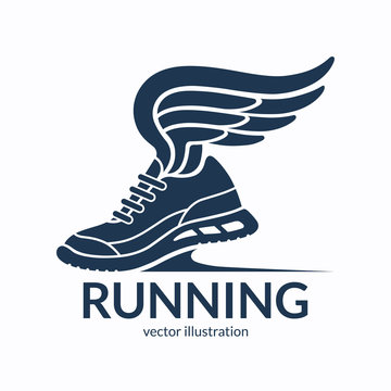 Speeding running shoe symbol, icon, logo or sign. Sneaker silhouette with wings. Vector illustration