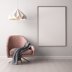 Mock up poster in the interior with a soft chair. 3d illustration
