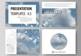 Set of business templates for presentation slides. Vector layouts in flat style. Blue color pattern with rhombuses, abstract design geometrical background. Simple modern stylish texture.