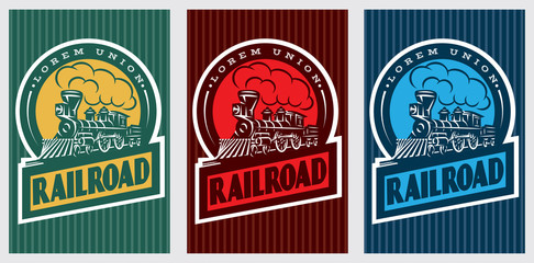 A set of colorful retro posters with a vintage locomotive